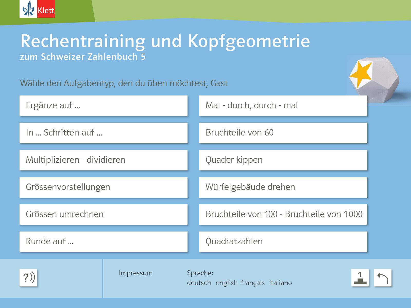 Rechentraining und Kopfgeometrie 5 Background 1